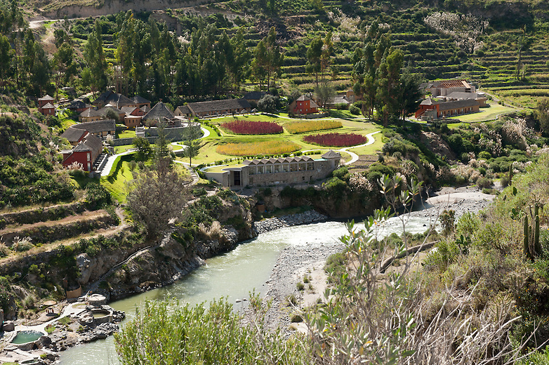 The Colca Valley is more than twice as deep as the Grand Canyon at 4160 m. The villages along the canyon are inhabited by people of the Collaguas and Cabanas cultures who maintain ancestral traditions and continue to farm the pre-Inca stepped terraces.  At the bottom of the Canyon is an oasis with several tourist resorts.