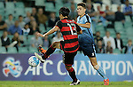 SYDNEY - APRIL 05:  Wonil Kim of Pohang Steelers is challenged by George Blackwood of Sydney FC during the AFC Champions League group H match between Sydney FC and Pohang Steelers on 05 April 2016 held at Sydney Football Stadium in Sydney, Australia. Photo by Mark Metcalfe / Power Sport Images   *** Local Caption *** Wonil Kim;George Blackwood