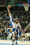 Real Madrid´s Gustavo Ayon and Anadolu Efes´s Dogus Balbay during 2014-15 Euroleague Basketball match between Real Madrid and Anadolu Efes at Palacio de los Deportes stadium in Madrid, Spain. December 18, 2014. (ALTERPHOTOS/Luis Fernandez)