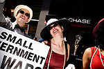 On April 29th, 2006 thousands of anti-war protesters rallied at Union Square in Manhattan and marched down Broadway to show their anger at the Bush administration for the continuing war in Iraq..The Billionaires for Bush comedy outfit.