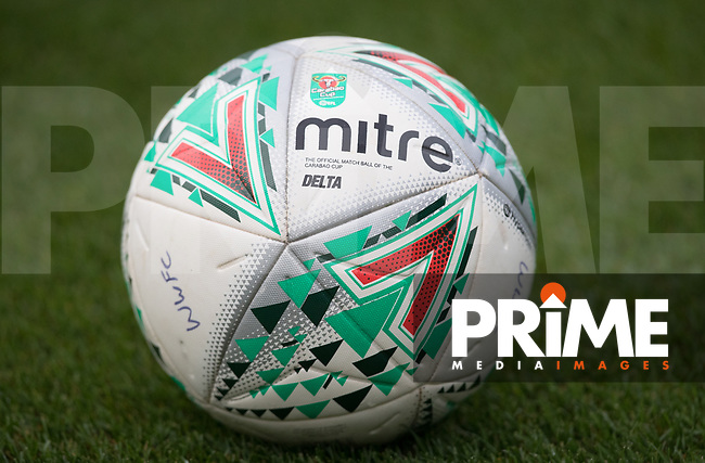 Carabao match ball pre match during the Carabao Cup 2nd round match between Wycombe Wanderers and Forest Green Rovers at Adams Park, High Wycombe, England on 28 August 2018. Photo by Andy Rowland.