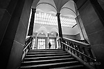 View of steps inside the Dayton Art Institute. Black and white moment