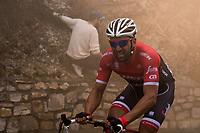 Marco Coledan (ITA/Trek-Segafredo) riding through smoke bombs up Capo Berta (38 km's before the finish)<br /> <br /> 108th Milano - Sanremo 2017