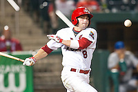 July 21, 2010 Chris Swauger (8) in action during the MiLB game between the Tulsa Drillers and the Springfield Cardinals at Hammons Field in Springfield Missouri.  Tulsa won 5-3