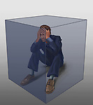 Illustration of exhausted businessman captive in transparent cube over colored background