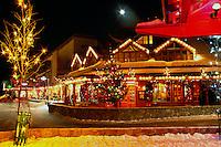 Whistler Resort, BC, British Columbia, Canada - Christmas Lights on Shops in Whistler Village