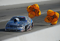 Sept. 3, 2011; Claremont, IN, USA: NHRA pro stock driver Allen Johnson during qualifying for the US Nationals at Lucas Oil Raceway. Mandatory Credit: Mark J. Rebilas-