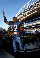 Sep 25, 2005; Seattle, WA, USA; Seattle Seahawks running back #37 Shaun Alexander celebrates as he leaves the field after scoring four touchdowns against the Arizona Cardinals in at Qwest Field. Mandatory Credit: Photo By Mark J. Rebilas