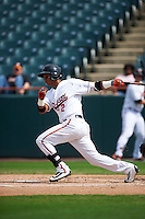 Bowie Baysox second baseman Garabez Rosa (2) at bat during the first game of a doubleheader against the Akron RubberDucks on June 5, 2016 at Prince George's Stadium in Bowie, Maryland.  Bowie defeated Akron 12-7.  (Mike Janes/Four Seam Images)