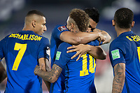 8th June 2021; Defensores del Chaco Stadium, Asuncion, Paraguay; World Cup football 2022 qualifiers; Paraguay versus Brazil;  Neymar of Brazil celebrates his goal with Casemiro in the 4th minute 0-1