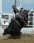 CPRA bullrider Jesse Jackson scores a 72 point bullride on a Southwick Rodeo Company bull during the Southeast Weld County Rodeo in Keenesburg, Colorado on August 12, 2006.