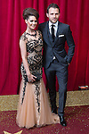 © Licensed to London News Pictures . 16/05/2015 .  The Palace Hotel , Manchester , UK . Anna Passey and Nick Rhys . The red carpet at the 2015 British Soap Awards , The Palace Hotel , Oxford Road , Manchester . Photo credit : Joel Goodman/LNP