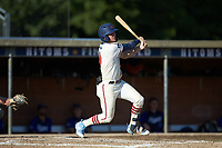 Jeremy Simpson (9) (Catawba) of the High Point-Thomasville HiToms follows through on his swing against the Martinsville Mustangs at Finch Field on July 26, 2020 in Thomasville, NC.  The HiToms defeated the Mustangs 8-5. (Brian Westerholt/Four Seam Images)