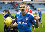 Martyn Waghorn with the match ball after blagging another hat-trick for Rangers