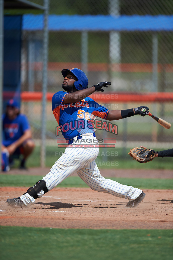 GCL Mets third baseman Franklin Correa (56) at bat during the first game of a doubleheader against the GCL Marlins on July 24, 2015 at the St. Lucie Sports Complex in St. Lucie, Florida.  GCL Marlins defeated the GCL Mets 5-4.  (Mike Janes/Four Seam Images)