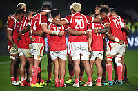 3rd July 2021, Auckland, New Zealand;  Tonga huddle.<br /> New Zealand All Blacks versus Tonga, Steinlager Series, international rugby union test match. Mt Smart Stadium, Auckland. New Zealand.