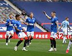 04.10.2020 Rangers v Ross County: James Tavernier celebrates after scoring from the spot