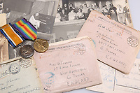 BNPS.co.uk (01202 558833)<br /> Pic: Elstob & Elstob/BNPS<br /> <br /> Pictured: Second Lieutenant Clarence Pickyard's archive includes his medal set. <br /> <br /> Amazing photos of British PoWs doing amateur dramatics dressed as women in a German camp have emerged 103 years on.<br /> <br /> One officer goes all out in a flapper dress, while others don frocks and make-up in the jovial previously unseen images.<br /> <br /> They took their performances so seriously that they spent up to six hours a day rehearsing.<br /> <br /> The photos were taken by Second Lieutenant Clarence Pickyard, of the 22nd Durham Light Infantry, who was captured in June 1918 during the German Spring Offensive after being shot in the hip on the battlefield.<br /> <br /> He was detained for the remainder of the conflict at Schweidnitz PoW camp in Eastern Germany, writing regularly to his sweetheart Gwen Johnson. His camp photos and love letters are being sold alongside his campaign medals with auctioneers Elstob & Elstob, of Ripon, North Yorks.