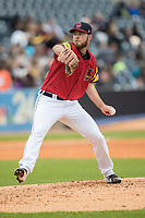 Toledo Mud Hens pitcher Kyle Ryan (58) delivers a pitch to the plate against the Lehigh Valley IronPigs during the International League baseball game on April 30, 2017 at Fifth Third Field in Toledo, Ohio. Toledo defeated Lehigh Valley 6-4. (Andrew Woolley/Four Seam Images)