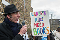 Save Lambeth Libraries protest 5-3-16 Demonstrators marched from Brixton to South Lambeth library to demand an end to planned closures. The rally was addressed by local author Will Self.