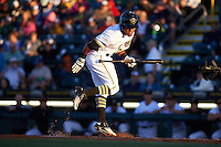 Bradenton Marauders center fielder Elvis Escobar (16) tries to get out of the way of an inside pitch during a game against the Fort Myers Miracle on April 9, 2016 at McKechnie Field in Bradenton, Florida.  Fort Myers defeated Bradenton 5-1.  (Mike Janes/Four Seam Images)
