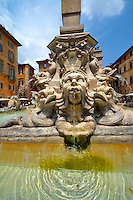 Baroque fountain outside the Pantheon . Piazza Minerva,  Rome