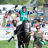 Richard Boucher cheers as Complete Zen wins photo in National Hunt Cup at Radnor.