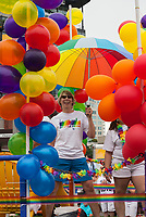 Rainbow colored balloon parade float, City of Seattle PrideFest 2015, Washington State, WA, America, USA.