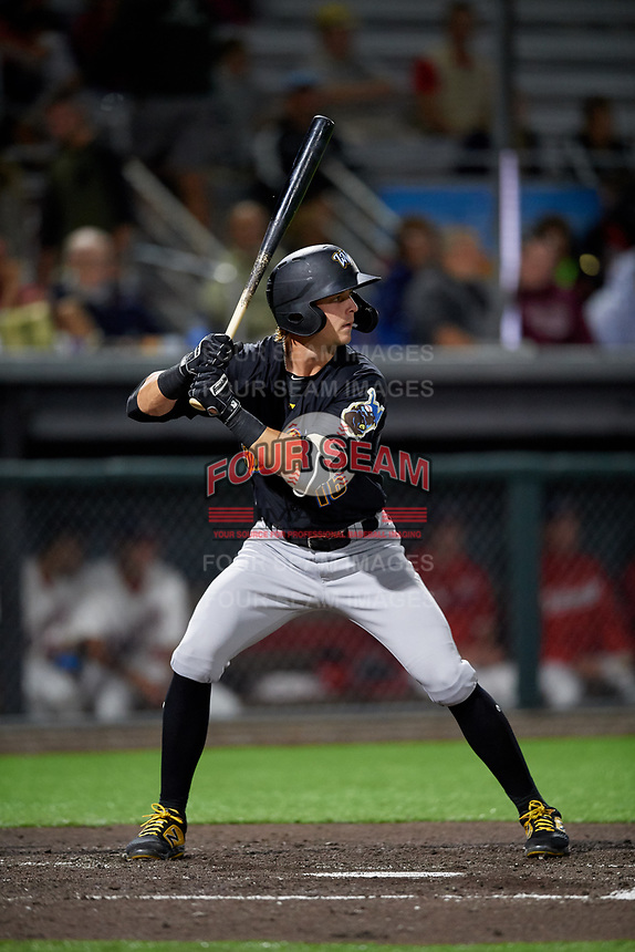 West Virginia Black Bears Nick Patten (16) at bat during a NY-Penn League game against the Auburn Doubledays on August 23, 2019 at Falcon Park in Auburn, New York.  West Virginia defeated Auburn 6-5, the second game of a doubleheader.  (Mike Janes/Four Seam Images)