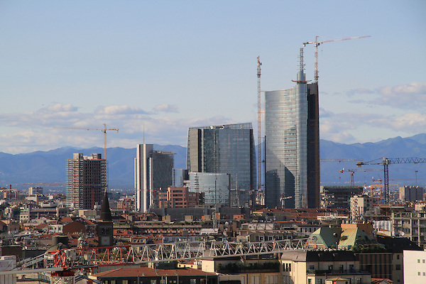 Downtown view from the roof of the Duomo Cathedral, Milano, Italy.