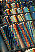 Close up of a solar panel array. Fresnel lens collectors of photovoltaic solar energy, solar power.