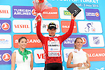 Juan Pablo Valencia (COL) Team Colombia retains the Mountains Jersey at the end of Stage 3 of the 2015 Presidential Tour of Turkey running 165.3km from Kemer to Elmali. 28th April 2015.<br /> Photo: Tour of Turkey/Mario Stiehl/www.newsfile.ie