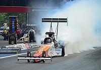 Jun. 17, 2012; Bristol, TN, USA: NHRA top fuel dragster driver Clay Millican during the Thunder Valley Nationals at Bristol Dragway. Mandatory Credit: Mark J. Rebilas-