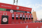 UAE Team Emirates at sign on before the start of Stage 1 of the 2021 UAE Tour the ADNOC Stage running 176km from Al Dhafra Castle to Al Mirfa, Abu Dhabi, UAE. 21st February 2021.  <br /> Picture: LaPresse/Gian Mattia D'Alberto | Cyclefile<br /> <br /> All photos usage must carry mandatory copyright credit (© Cyclefile | LaPresse/Gian Mattia D'Alberto)