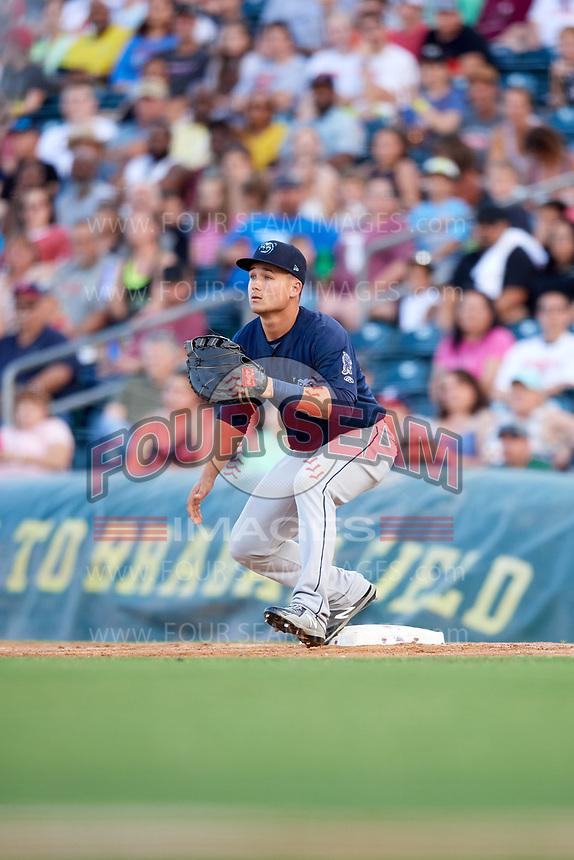 Mobile BayBears first baseman Matt Thaiss (21) during a game against the Jacksonville Jumbo Shrimp on April 14, 2018 at Baseball Grounds of Jacksonville in Jacksonville, Florida.  Mobile defeated Jacksonville 13-3.  (Mike Janes/Four Seam Images)