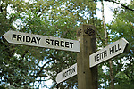 Leith Hill. Surrey Hills. England. Friday Street, Leith Hill, Wotton sign post. 2010 UK