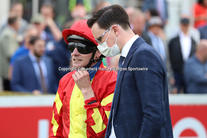 September 11, 2021: Jockey Declan McDonogh, rider of Patrick Sarsfield (FR) #3 prior to the Group 1 Irish Champion Stakes on the turf on Irish Champions Weekend at Leopardstown Racecourse in Dublin, Ireland on September 11th, 2021. Shamela Hanley/Eclipse Sportswire/CSM