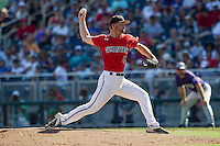 Texas Tech Red Raiders pitcher Ryan Moseley (44) delivers a pitch to the plate against the TCU Horned Frogs in Game 3 of the NCAA College World Series on June 19, 2016 at TD Ameritrade Park in Omaha, Nebraska. TCU defeated Texas Tech 5-3. (Andrew Woolley/Four Seam Images)