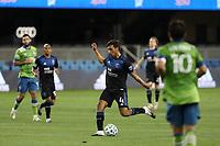 SAN JOSE, CA - OCTOBER 18: Oswaldo Alanis #4 of the San Jose Earthquakes during a game between Seattle Sounders FC and San Jose Earthquakes at Earthquakes Stadium on October 18, 2020 in San Jose, California.