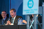 Brexit Party EU elections campaign launch at  The Neon in Newport, South Wales. Brexit Party Leader Nigel Farage speaking to delegates.