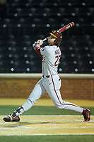 Drew Mendoza (22) of the Florida State Seminoles follows through on his swing against the Wake Forest Demon Deacons at David F. Couch Ballpark on March 9, 2018 in  Winston-Salem, North Carolina.  The Seminoles defeated the Demon Deacons 7-3.  (Brian Westerholt/Four Seam Images)