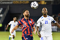 KANSAS CITY, KS - JULY 15: Christian Roldan #10 of the United States keeps his eyes on the ball during a game between Martinique and USMNT at Children's Mercy Park on July 15, 2021 in Kansas City, Kansas.