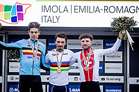 Julian Alaphilippe (FRA/Deceuninck-QuickStep) is the new World Champion, while Wout van Aert (BEL/Jumbo-Visma) takes silver & Marc Hirschi (SUI/Sunweb) bronze<br /> <br /> Men's Elite Road Race from Imola to Imola (258km)<br /> <br /> 87th UCI Road World Championships 2020 - ITT (WC)<br /> <br /> ©kramon
