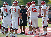 Arkansas assistant coach Brad Davis directs his players Tuesday, Sept. 8, 2020, during practice at the university football practice fields in Fayetteville. Visit nwaonline.com/200909Daily/ for today's photo gallery.<br /> (NWA Democrat-Gazette/Andy Shupe)