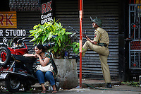 Army troops on the street after multiple terrorist attacks were launched in Mumbai on 26/11/2008..