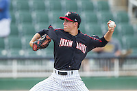 Kannapolis Intimidators starting pitcher Jeff McKenzie (21) in action against the Lakewood BlueClaws at CMC-NorthEast Stadium on July 20, 2014 in Kannapolis, North Carolina.  The Intimidators defeated the BlueClaws 7-6. (Brian Westerholt/Four Seam Images)