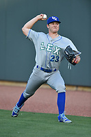 Starting pitcher Nolan Watson (23) of the Lexington Legends warms up before a game against the Columbia Fireflies on Friday, April 21, 2017, at Spirit Communications Park in Columbia, South Carolina. Columbia won, 5-0. (Tom Priddy/Four Seam Images)