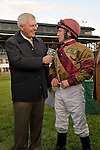 17 October 2009: Mike Battaglia interviews jockey James Graham after his win on Hot Cha Cha in the G1Queen Elizabeth Stakes at Keeneland Race Course in Lexington, Kentucky.