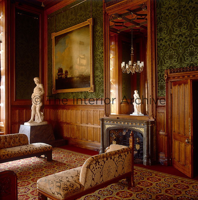 One of the newly decorated rooms in the Lord Chancellor's apartments (c.1998) clearly follows in the Victorian gothic footsteps of A.W.N Pugin, with its bold, rich coloured patterns on the walls and furniture