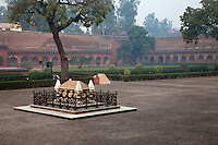 Agra, India.  Agra Fort.  Courtyard of the Diwan-i-Am, with Grave of John Russell Colvin, British lieutenant-governor of the Northwestern Provinces, who died during the 1857 Indian uprising.